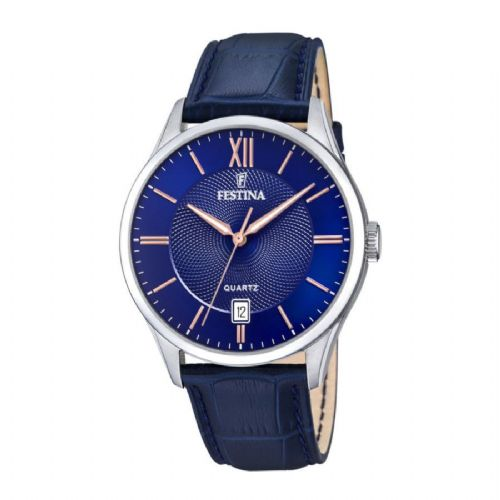 F20426/5 Festina Watch Mens Blue Round Leather Strap Watch